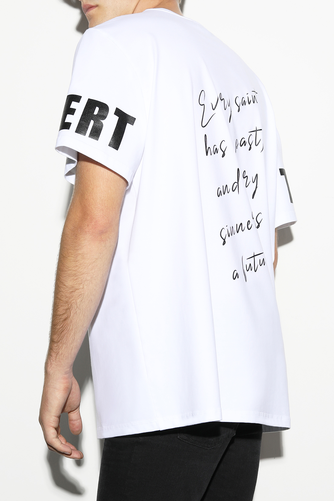 T-shirt for women and men by designer Stefan Eckert, made of organic cotton, sustainably produced in Germany, design Every Saint has a past, and every sinner has a future-2